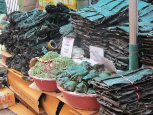 market stall with seaweed