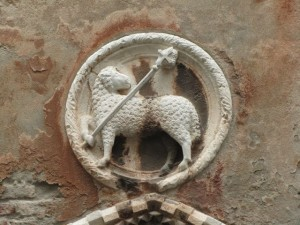 Coat of arms above Venetian doorway