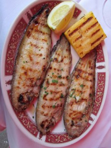 Is this what Giovanni had in mind for lunch? Grilled sole with polenta