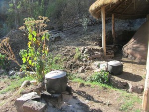 Water boiling for after ceremony bath.