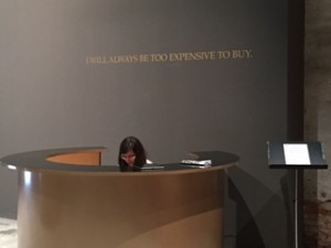 "Biennale Installation: Receptionist Desk, ""I will always be too expensive to buy."""