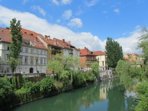 Downtown Ljubljana, the capitol of Slovenia, along the Saba River.