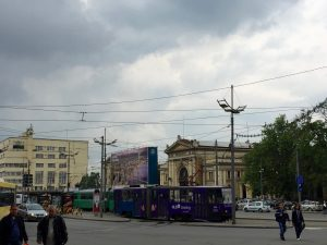 Trams in front of the Belgrade train station. This is where they Syrian refugees camped out last summer.